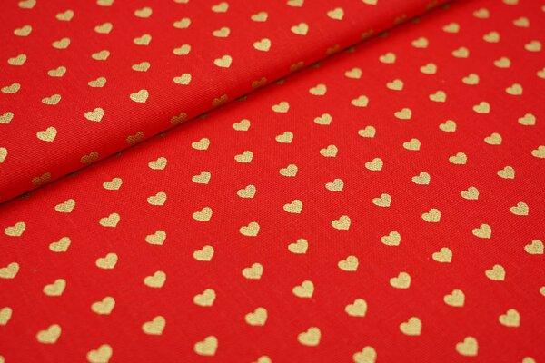 Dekostoff Canvas goldene Glitzer Herzen auf rot