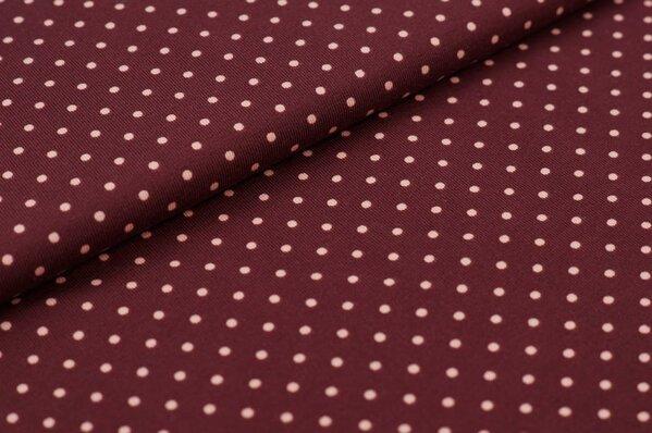 Baumwoll-Jersey kleine pastell rosa Punkte auf rost bordeaux rot
