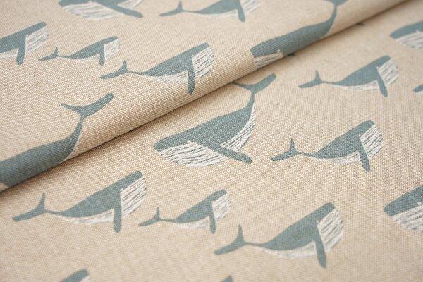 Canvas-Stoff Dekostoff in Leinenoptik jeansblau taupeblau Wale auf natur