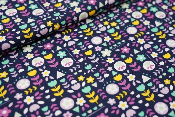 Baumwollstoff mit bunten Blumen dunkelblau / grün / gelb / rosa / pink / weiß