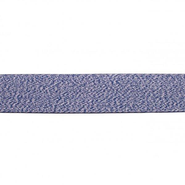 Breites Gummiband mit Linien uni dunkelblau meliert