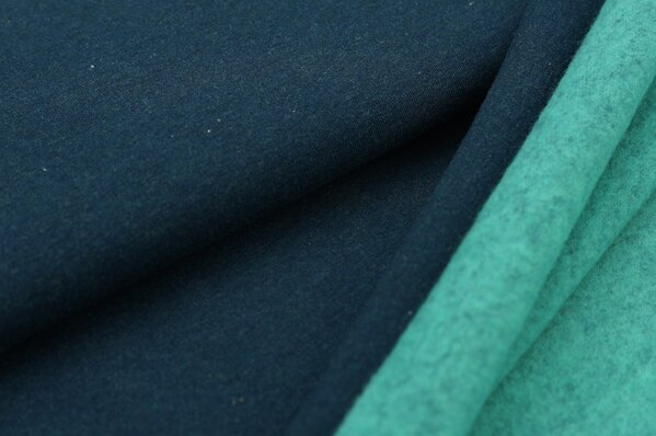 Wintersweat Elli uni dunkelblau melange mit Rückseite in mint