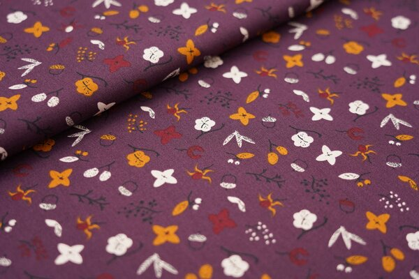 Baumwolle Blätter Blumen Zweige Eicheln auf dunkel aubergine lila