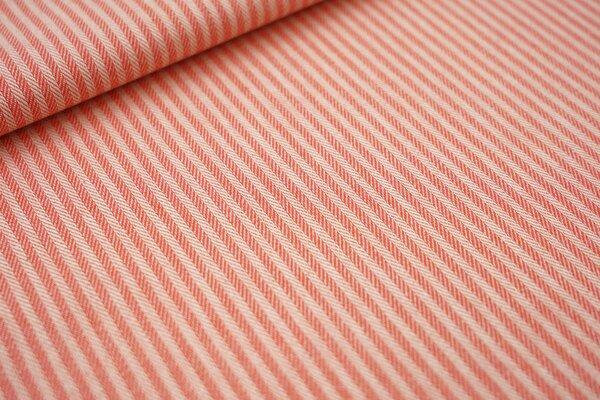Canvas-Stoff Dekostoff Streifen Linien-Muster koralle / weiß
