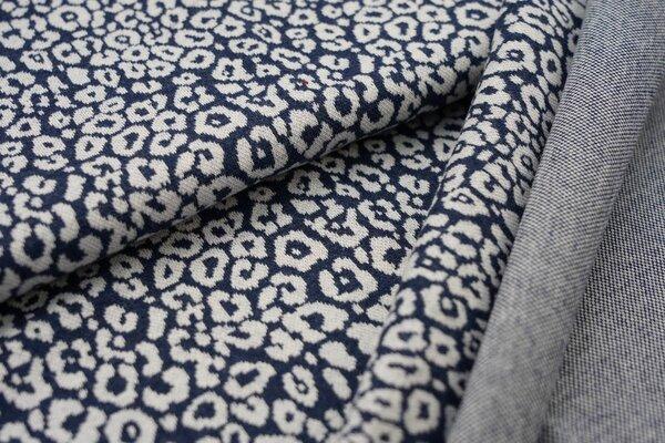 Jacquard-Sweat Mia off white Leoparden Muster auf navy blau Melange