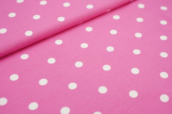 Baumwoll-Jersey große weiße Punkte auf rosa