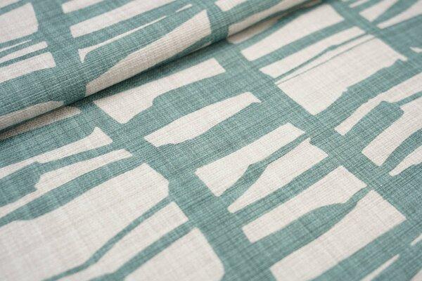 Canvas-Stoff Dekostoff großes Muster mit Strichen hell beige / altgrün