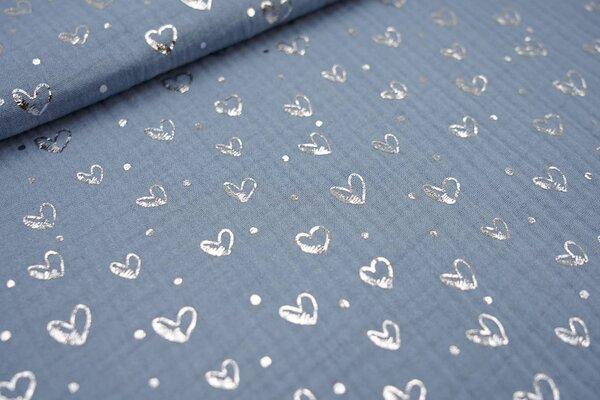 Musselin Stoff Double Gauze altblau mit silbernen Herzen und Punkten
