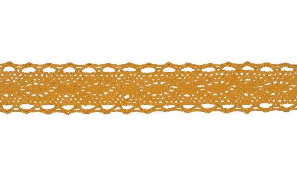 Baumwolle Spitzenborte Häkelborte uni senfgelb 25 mm breit Klöppelspitze