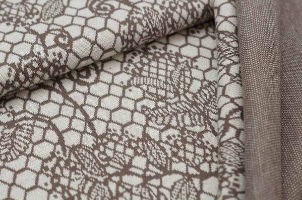 Jacquard-Sweat Ben taupe braunes Blumen Muster auf off white