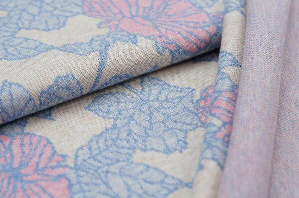 Jacquard-Sweat Mia Blumen-Muster mit Blättern pastell beige / hellblau Melange