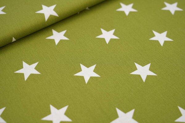 Baumwollstoff Baumwolle olivgrün mit sehr großen weißen Sternen
