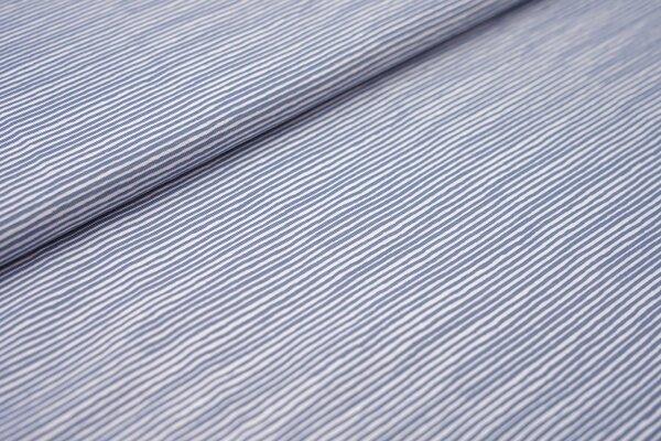 Baumwoll-Jersey unregelmäßige Mini Streifen Ringel taupe jeansblau / weiß