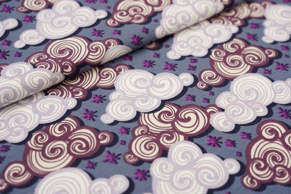 Baumwoll-Jersey Wolken und Sterne grau / weiß / violett / lila / beige