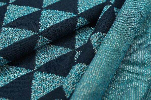 Jacquard-Jersey Bea Dreiecke türkis und navy blau mit silber Lurex Glitzer