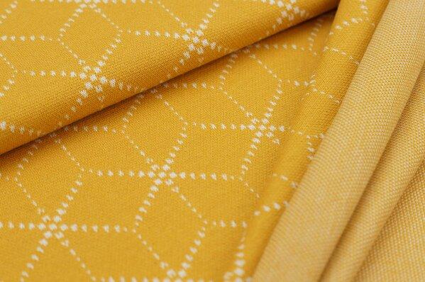 Jacquard-Sweat Ben off white Geometrie Muster Würfel Blöcke auf senf