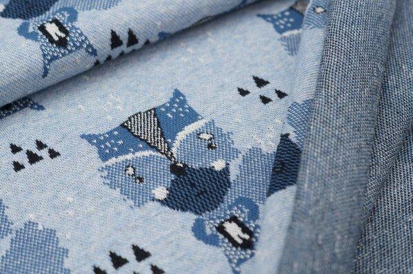 Jacquard-Sweat Mia Superheld Waschbär / Dreiecke pastell hellblau melange