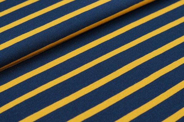 XXL Baumwoll-Jersey Marie Streifen Ringel 6 und 16 mm navy blau und senf