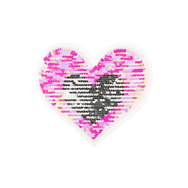 Applikation Herz rosa und pink irisierend / silber Aufnäher mit Wendepailletten