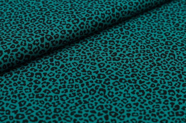 Baumwoll-Jerseystoff Leoparden Muster klein petrol / schwarz