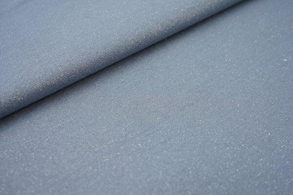Glitzer Bündchen jeansblau mit silber Lurex Glitzer