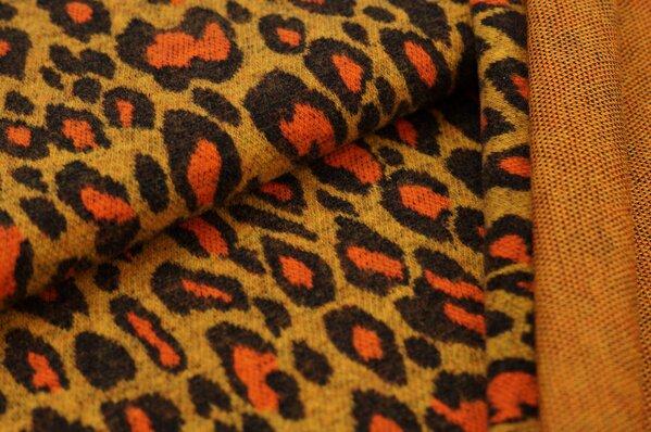 Kuschel Jacquard-Sweat Max Leoparden Design senf / braun / orange