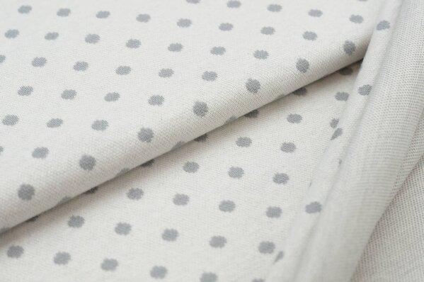 Jacquard-Sweat Ben hellgraue Punkte Tupfen auf off white