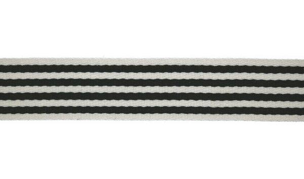 Breites Gurtband mit 4 Streifen in navy dunkelblau auf off white 40 mm
