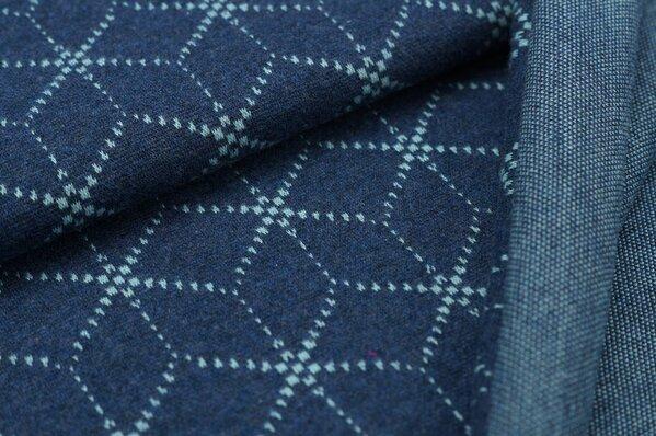 Jacquard-Sweat Mia eisblaues Geometrie Muster Würfel Blöcke navy blau Melange