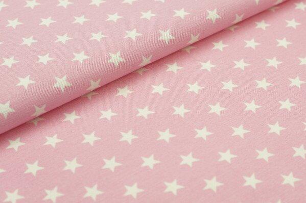 Dekostoff Canvas weiße Sterne auf rosa