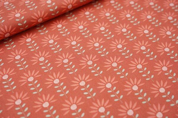 Baumwolle Blumen rotbraun / lachsorange / mint / weiß