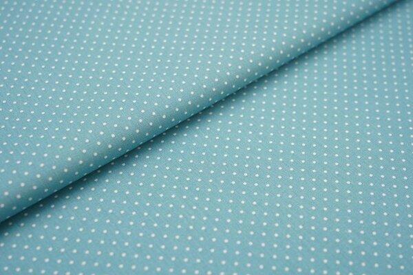 Baumwollstoff Baumwolle eisblau mit kleinen weißen Punkten