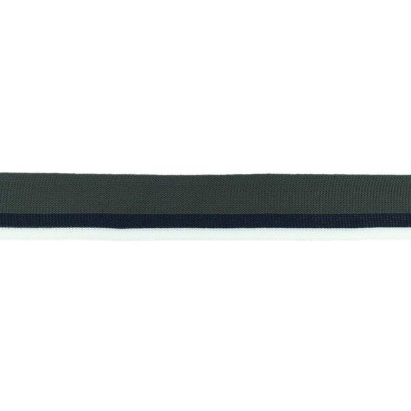 Elastisches Zierband mit Streifen anthrazit grau dunkelblau weiß 30 mm