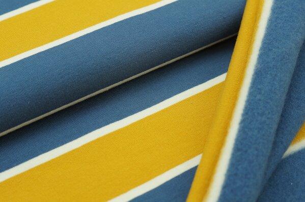 Wintersweat Elli große Streifen taupe blau / off white / senf