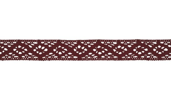 Baumwolle Spitzenborte Häkelborte uni bordeaux rot 20 mm breit Klöppelspitze