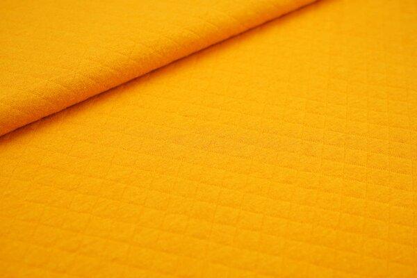 Baumwoll Stepp-Stoff uni mit Rauten Muster senfgelb gelborange