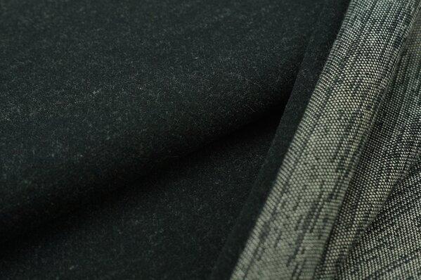Kuschel Jacquard-Sweat Max schwarz Uni mit off white Rückseite