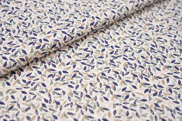 Baumwolle kleine Blätter weiß / dunkelblau / altmint / grün / braun / beige