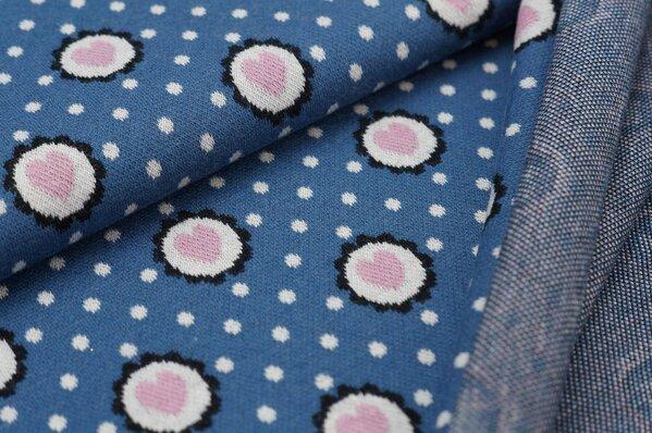 Jacquard-Sweat Ben Punkte und Herzen in Blume taupe blau / off white / altrosa