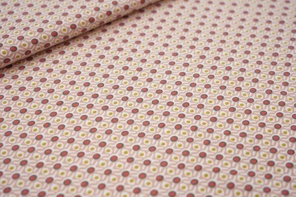 Baumwoll-Jersey Retro Gitter-Punkte-Muster pastell altrosa olivgelb hellrot weiß