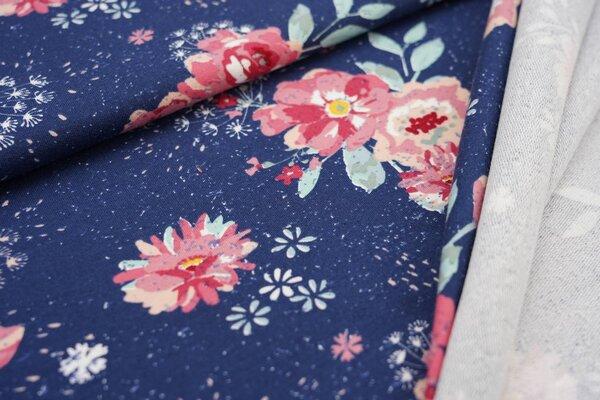 Baumwoll-Sweat mit großen Blumen Pfingstrosen auf dunkelblau