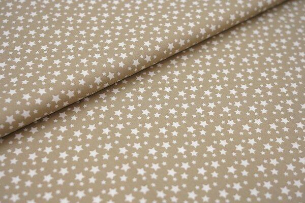 Baumwollstoff Baumwolle beige mit weißen Sternen