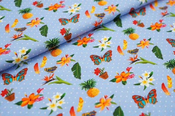 Baumwoll-Jersey Schmetterling Ananas Blumen Federn auf hellblau