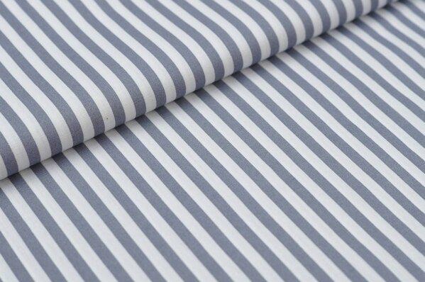 Baumwollstoff Baumwolle Streifen grau / weiß