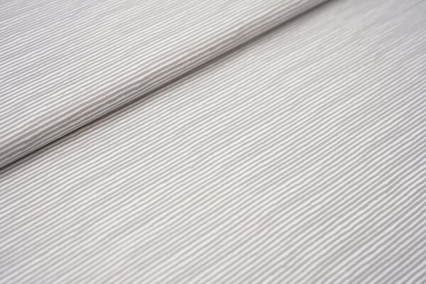 Baumwoll-Jersey unregelmäßige Mini Streifen Ringel silbergrau / weiß