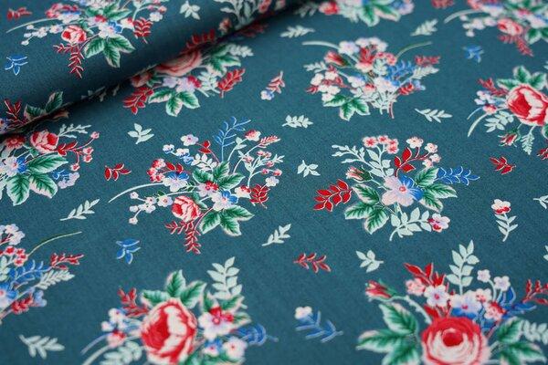 Baumwollstoff mit Blumenstrauß dunkelgrün / rot / grün / blau / rosa / weiß
