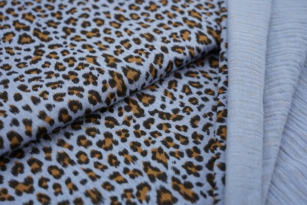 Musselin Stoff Double Gauze kleines Leoparden Muster hellblau schwarz hellbraun