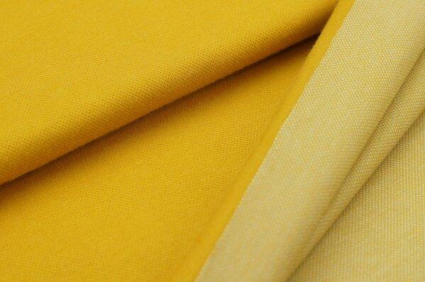 Jacquard-Sweat senf Uni mit senf und off white Rückseite