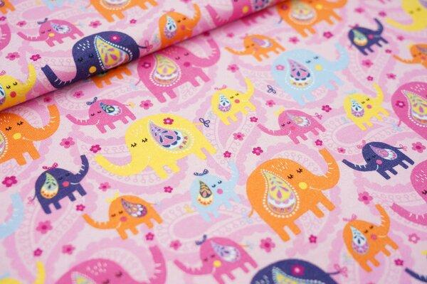 Baumwoll-Jersey bunte Elefanten und Paisley Blumen-Muster auf rosa