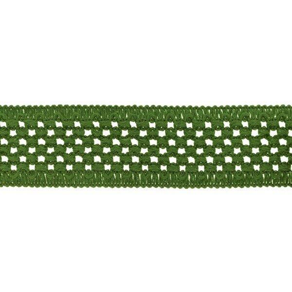 Elastisches Baumwollband in Häkeloptik uni olivgrün 50 mm